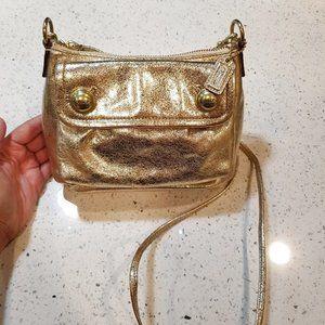 COACH poppy metallic gold crossbody purse leather
